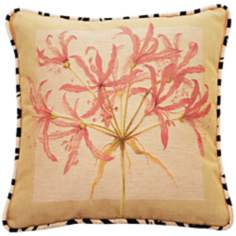 "Dragon Lilies Pink Animal Print 19"" Square Throw Pillow"
