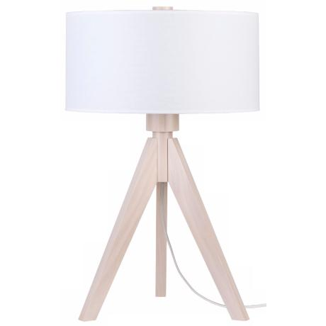 Lights Up! Woody Pickled White Linen Shade Table Lamp