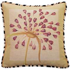 "Purple Dragon Lily and Zebra Trim 19"" Square Accent Pillow"