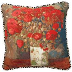 "Van Gogh Poppies Velvet Animal Print 19"" Square Throw Pillow"