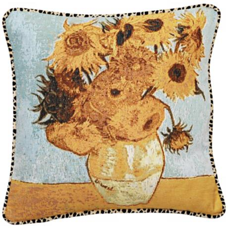 "Van Gogh Sunflowers Animal Print 19"" Square Throw Pillow"