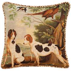 "Dogs Animal Print Velvet Welt Cord 19"" Square Throw Pillow"