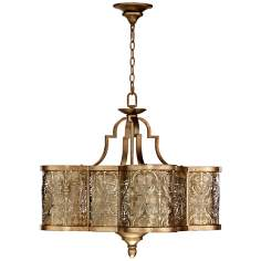 "Quorum French Damask 28"" Wide Vintage Pewter Pendant Light"