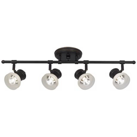 Frosted Glass and Bronze 4-Light Track Fixture