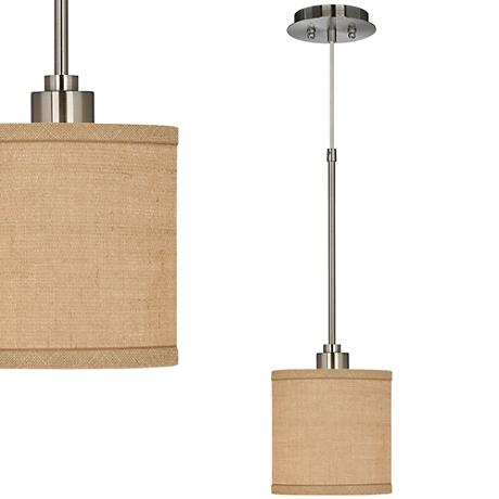 Woven Burlap Mini Pendant Light