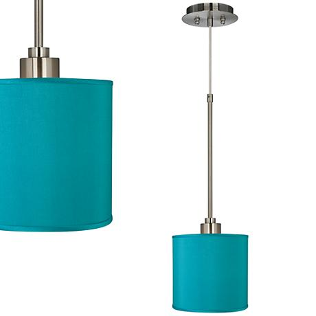 Teal Blue Faux Silk Mini Pendant Light