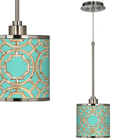Teal Bamboo Trellis Giclee Glow Mini Pendant Light