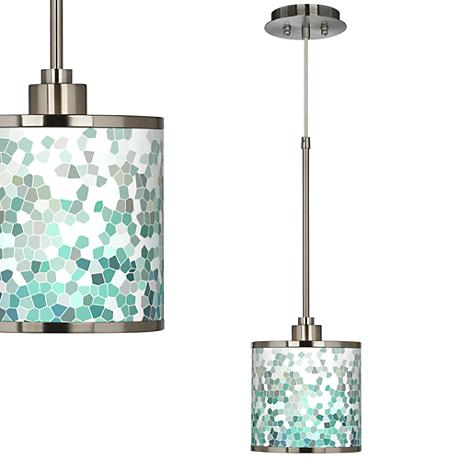 Aqua Mosaic Giclee Glow Mini Pendant Light