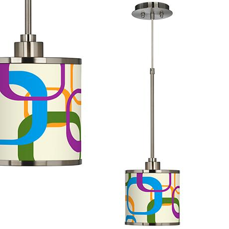 Retro Square Scramble Giclee Glow Mini Pendant Light