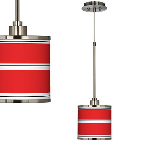 Red Stripes Giclee Glow Mini Pendant Light