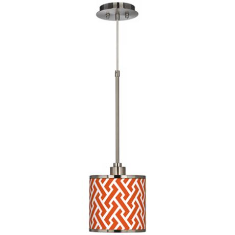 Red Brick Weave Giclee Glow Mini Pendant Light