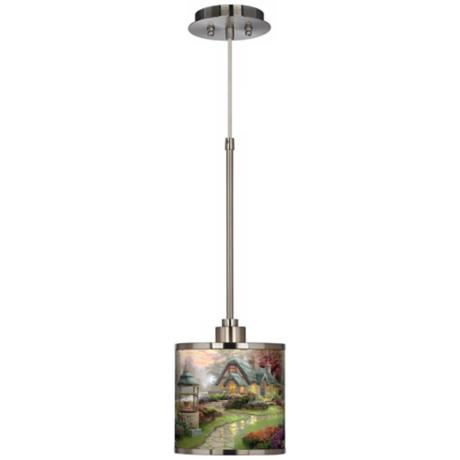 Thomas Kinkade Make A Wish Cottage Giclee Glow Mini Pendant Light