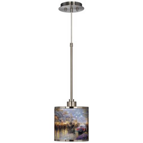 Thomas Kinkade Mountain Memories Giclee Glow Mini Pendant Light