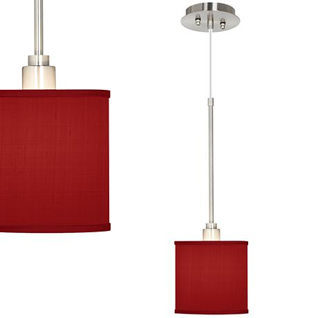 China Red Textured Silk Mini Pendant Light