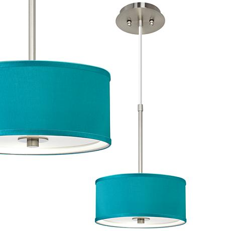 "Teal Blue Faux Silk 10 1/4"" Wide Pendant Light"
