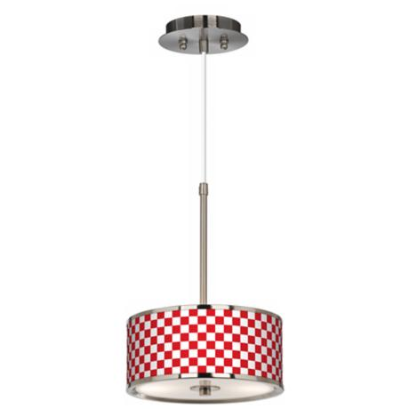 "Checkered Giclee Glow 10 1/4"" Wide Pendant Light"