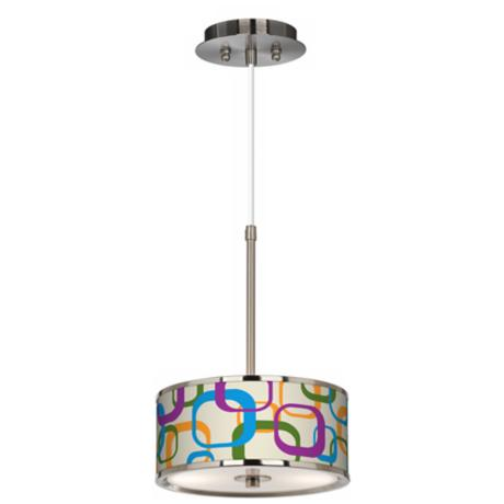"Retro Square Scramble Giclee Glow 10 1/4"" Wide Pendant Light"