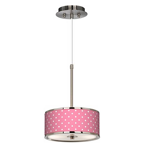 "Mini Dots Pink Giclee Glow 10 1/4"" Wide Pendant Light"