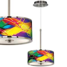 "Colors In Motion (Light) Giclee Glow 10 1/4"" Pendant Light"