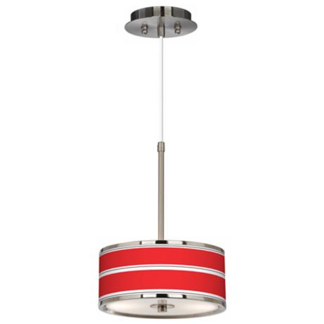 "Red Stripes Giclee Glow 10 1/4"" Wide Pendant Light"