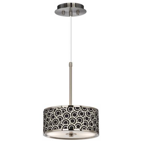 "Black and Ivory Circlets Giclee Glow 10 1/4"" Pendant Light"