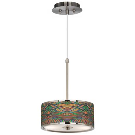 "Exotic Peacock Giclee Glow 10 1/4"" Wide Pendant Light"