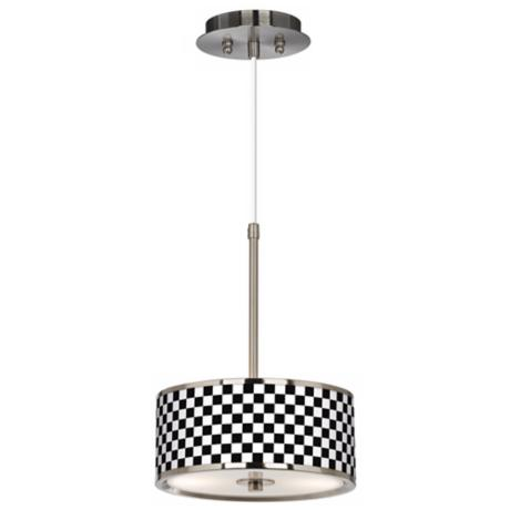 "Checkered Black Giclee Glow 10 1/4"" Wide Pendant Light"