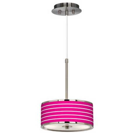 "Vivid Pink Stripes Giclee Glow 10 1/4"" Wide Pendant Light"