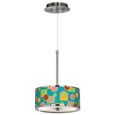 "Vibrant Retro Medley Giclee Glow 10 1/4"" Wide Pendant Light"