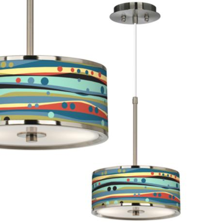 "Retro Dots & Waves Giclee Glow 10 1/4"" Pendant Light"