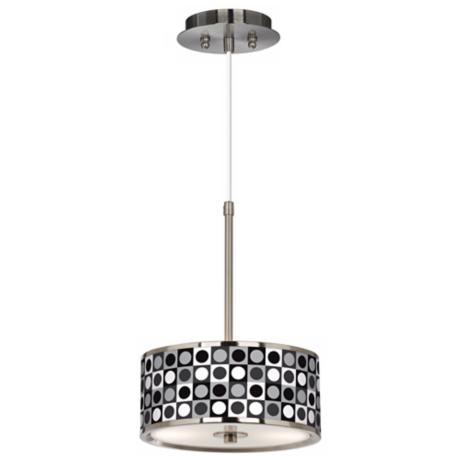 "Black and Grey Dotted Sua Giclee Glow 10 1/4"" Pendant Light"