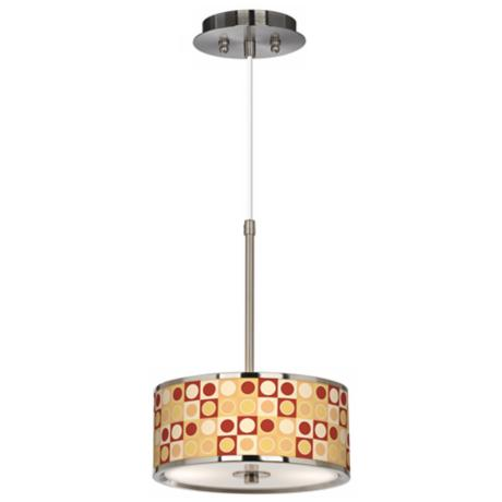 "Retro Dotted Squares Giclee Glow 10 1/4"" Wide Pendant Light"