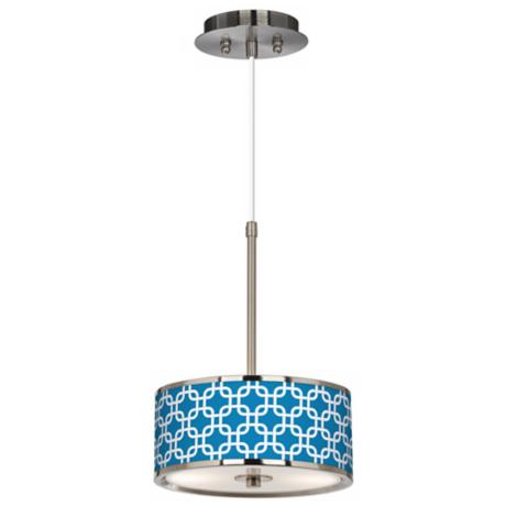 "Blue Lattice Giclee Glow 10 1/4"" Wide Pendant Light"