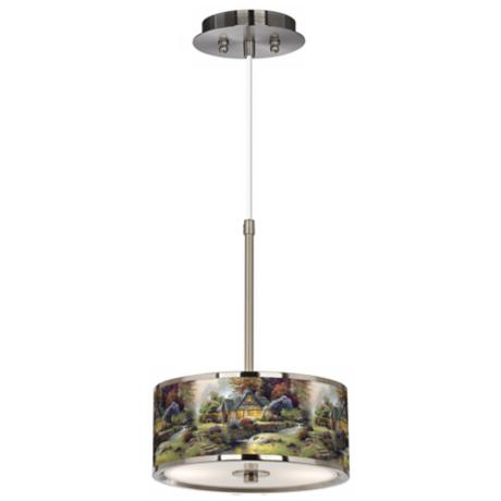 "Thomas Kinkade Stillwater Cottage 10 1/4"" Wide Pendant Light"