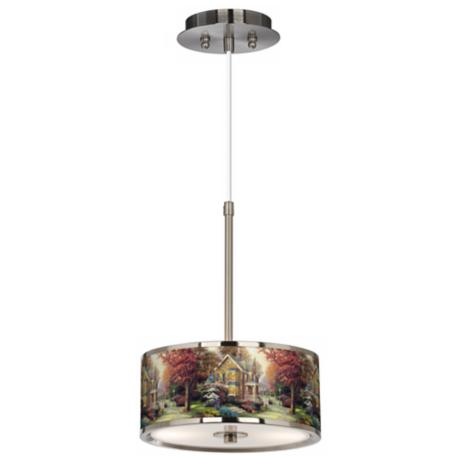 "Thomas Kinkade Victorian Autumn 10 1/4"" Wide Pendant Light"