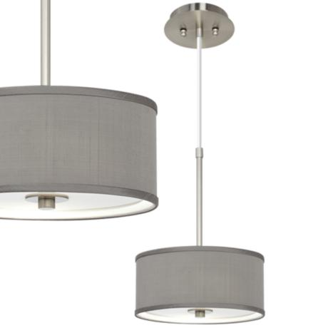 "Gray Textured Silk 10 1/4"" Wide Ceiling Pendant"