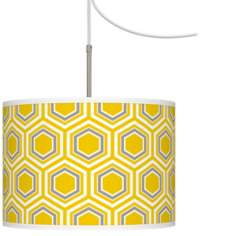 Honeycomb Giclee Glow Swag Style Plug-In Chandelier