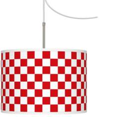 Checkered Red Giclee Glow Swag Style Plug-In Chandelier