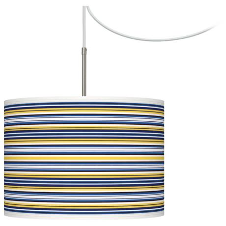 Charleston Stripes Giclee Glow Swag Plug-In Chandelier