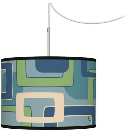Retro Rectangles Giclee Glow Swag Style Plug-In Chandelier