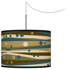 Dots and Waves Giclee Glow Swag Style Plug-In Chandelier
