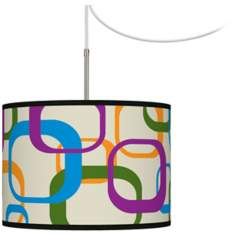 Retro Square Scramble Giclee Glow Swag Plug-In Chandelier