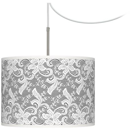 White Lace Giclee Glow Swag Style Plug-In Chandelier