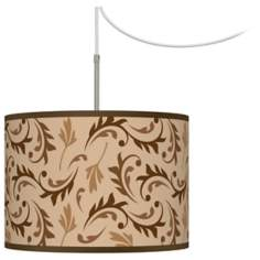 Fall Breeze Giclee Glow Swag Style Plug-In Chandelier