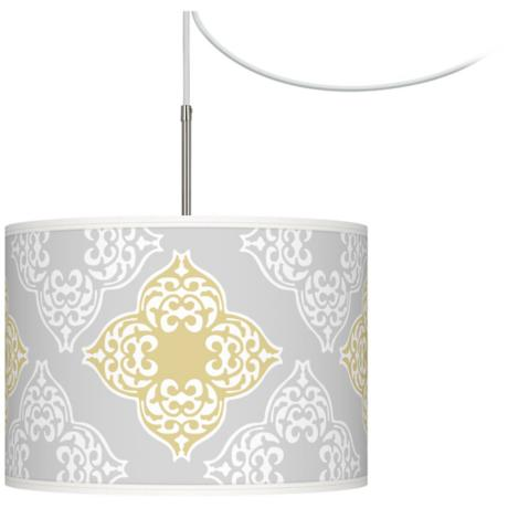 Aster Grey Giclee Glow Swag Style Plug-In Chandelier