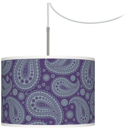 Purple Paisley Linen Giclee Glow Swag Plug-In Chandelier