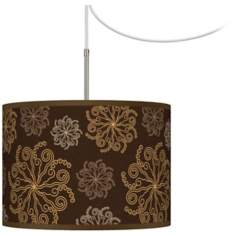 Chocolate Blossom Linen Giclee Glow Swag Plug-In Chandelier