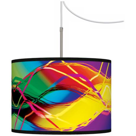 Colors In Motion (Light) Giclee Glow Swag Plug-In Chandelier