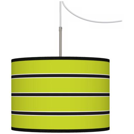 Bold Lime Green Stripe Giclee Glow Swag Plug-In Chandelier