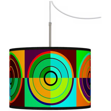 Circle Parade Giclee Glow Swag Style Plug-In Chandelier